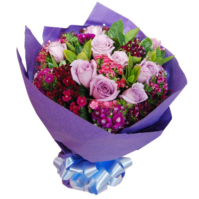 Purple Rose Bouquet 09