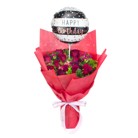 Balloon & Roses Bouquet 02