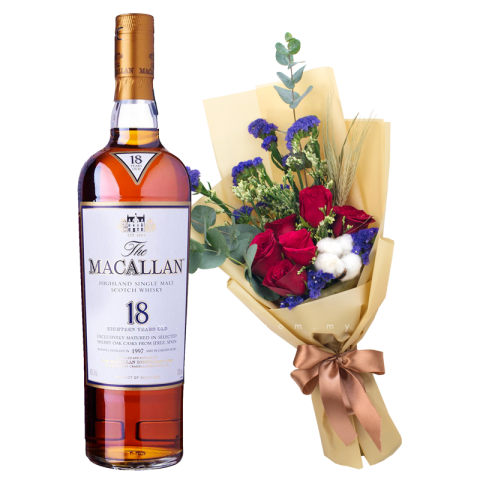 Macallan 18 Years (Whiskey) & Flower Bouquet