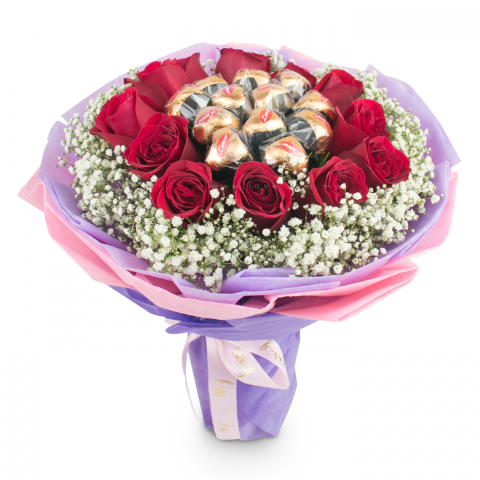 Valentine L'amour Belgian Chocolate Bouquet 11