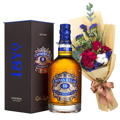 Chivas Regal 18 (Whiskey) & Flower Bouquet