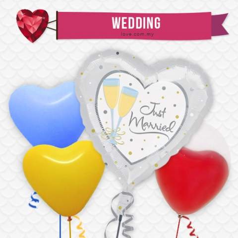 (WB02) Just Married Balloon 02