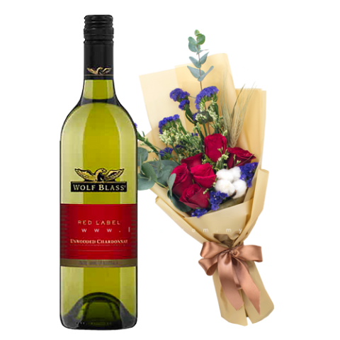 Wolf Bass - Red Label Unwooded Chardonnay (Australia) & Flower Bouquet