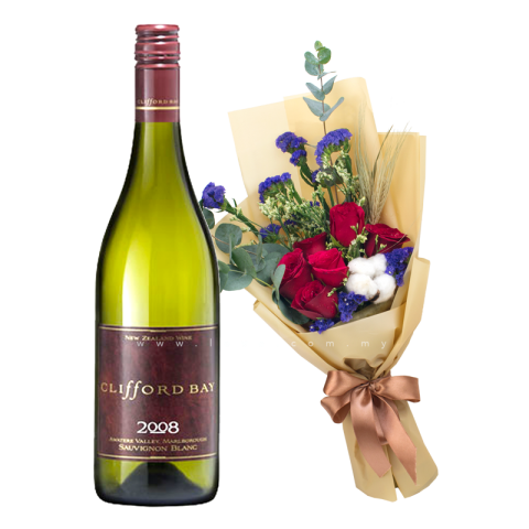 Clifford Bay - Sauvignon Blanc (New Zealand) & Flower Bouquet