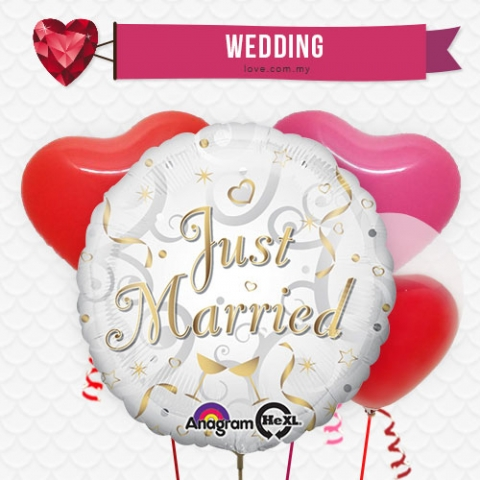 (WB16) Just Married Balloon 16