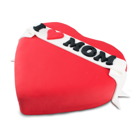 I Love Mom Heart Cake