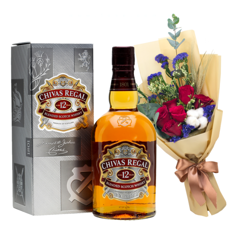 Chivas Regal 12 (Whiskey) & Flower Bouquet