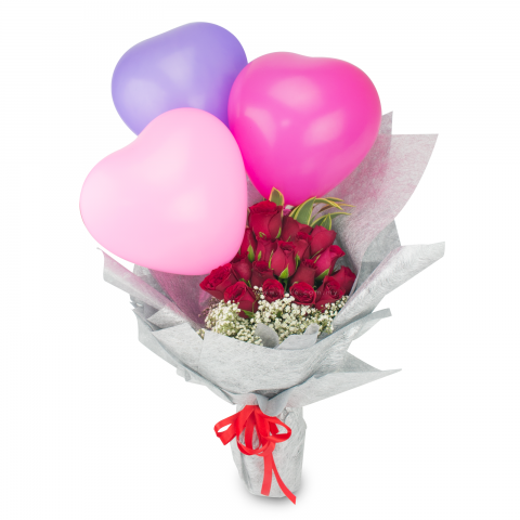 Rose and Balloon Bouquet