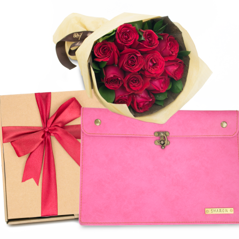 Red Roses & Document Case (PINK)