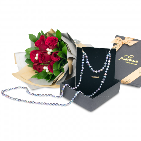 Fresh Water Pearl 8-9mm SS BQ Long Necklace - Black