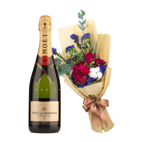 French Champagne - Moët Brut Impérial, NV & Flower Bouquet
